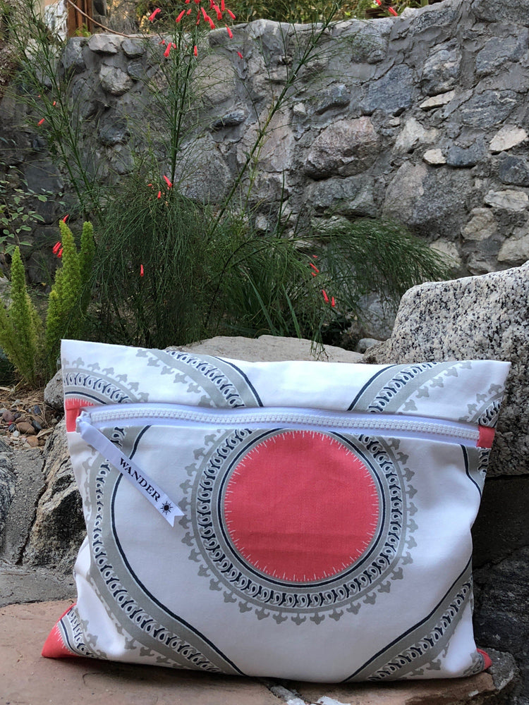 Palm Springs in Sunset Wet Bag, propped up for display