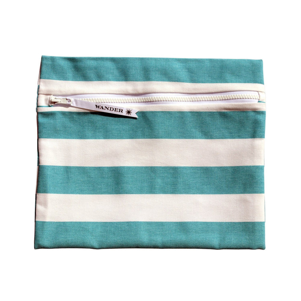 aqua and white striped wet swimsuit bag or wet bikini bag - Coronado in Infinity Pool Aqau by Wander Wet Bags™