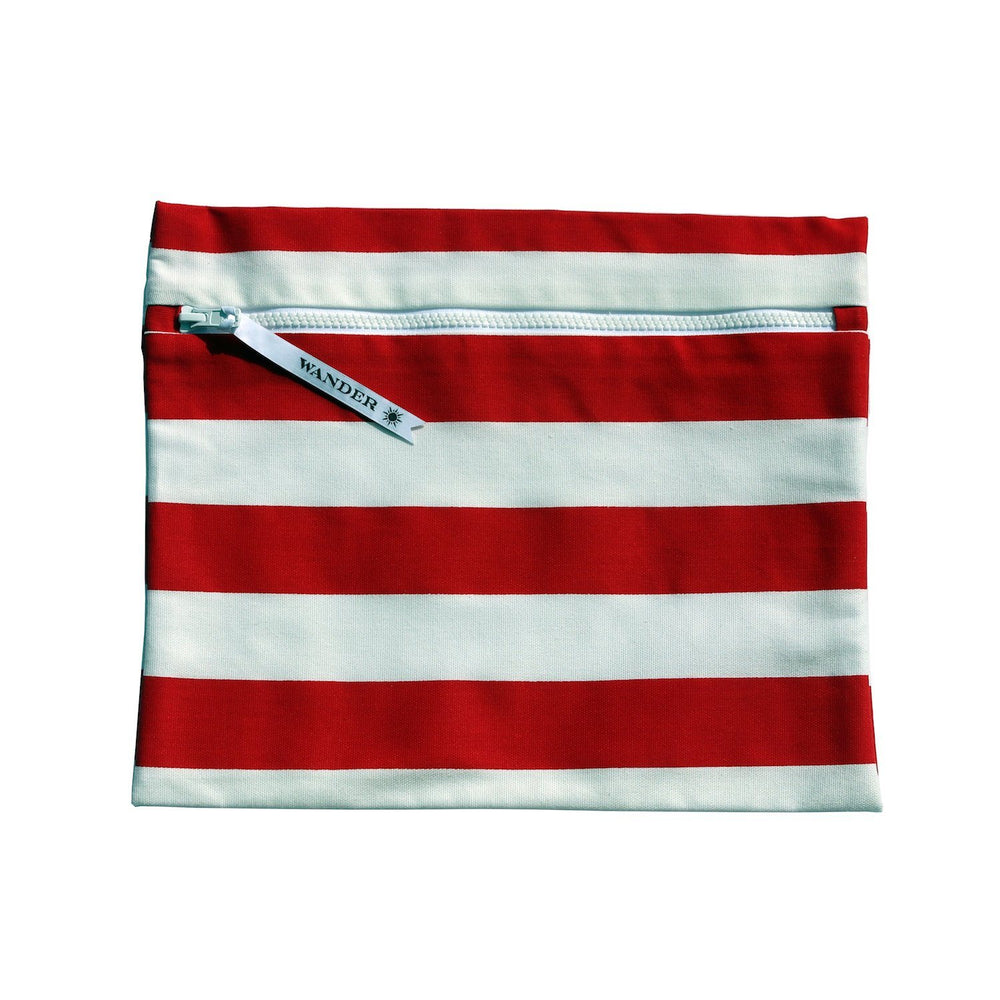 red and white striped wet swimsuit bag or wet bikini bag - Coronado in Lipstick Red by Wander Wet Bags™