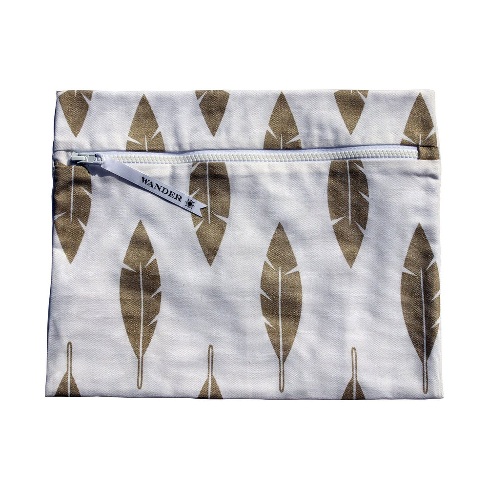 gold and white feathers metallic wet swimsuit bag or wet bikini bag - Free Spirit in Champagne Gold by Wander Wet Bags™