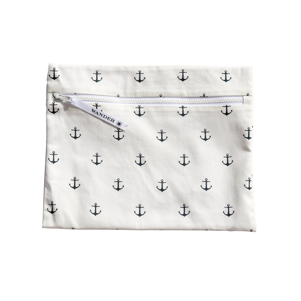 white and blue sail anchors wet swimsuit bag or bikini bag - Sea Salt in Deep Sea Navy by Wander Wet Bags™