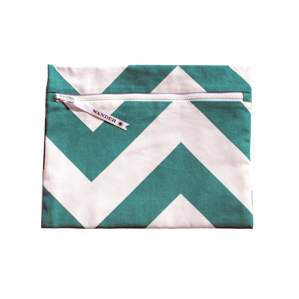 white and teal chevron wet swimsuit bag or bikini bag - Siren in Archipelago Teal by Wander Wet Bags™
