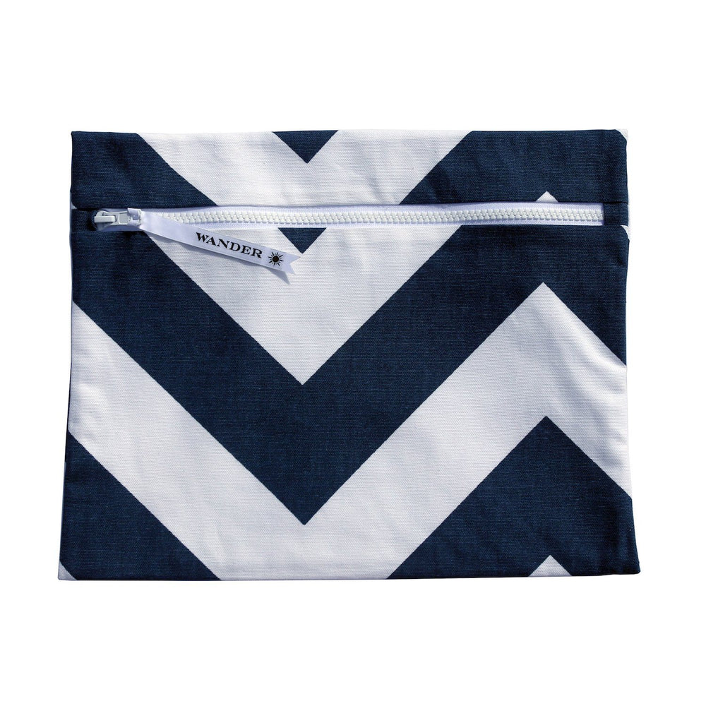 white and blue chevron wet swimsuit bag or bikini bag - Siren in Deep Sea Navy by Wander Wet Bags™