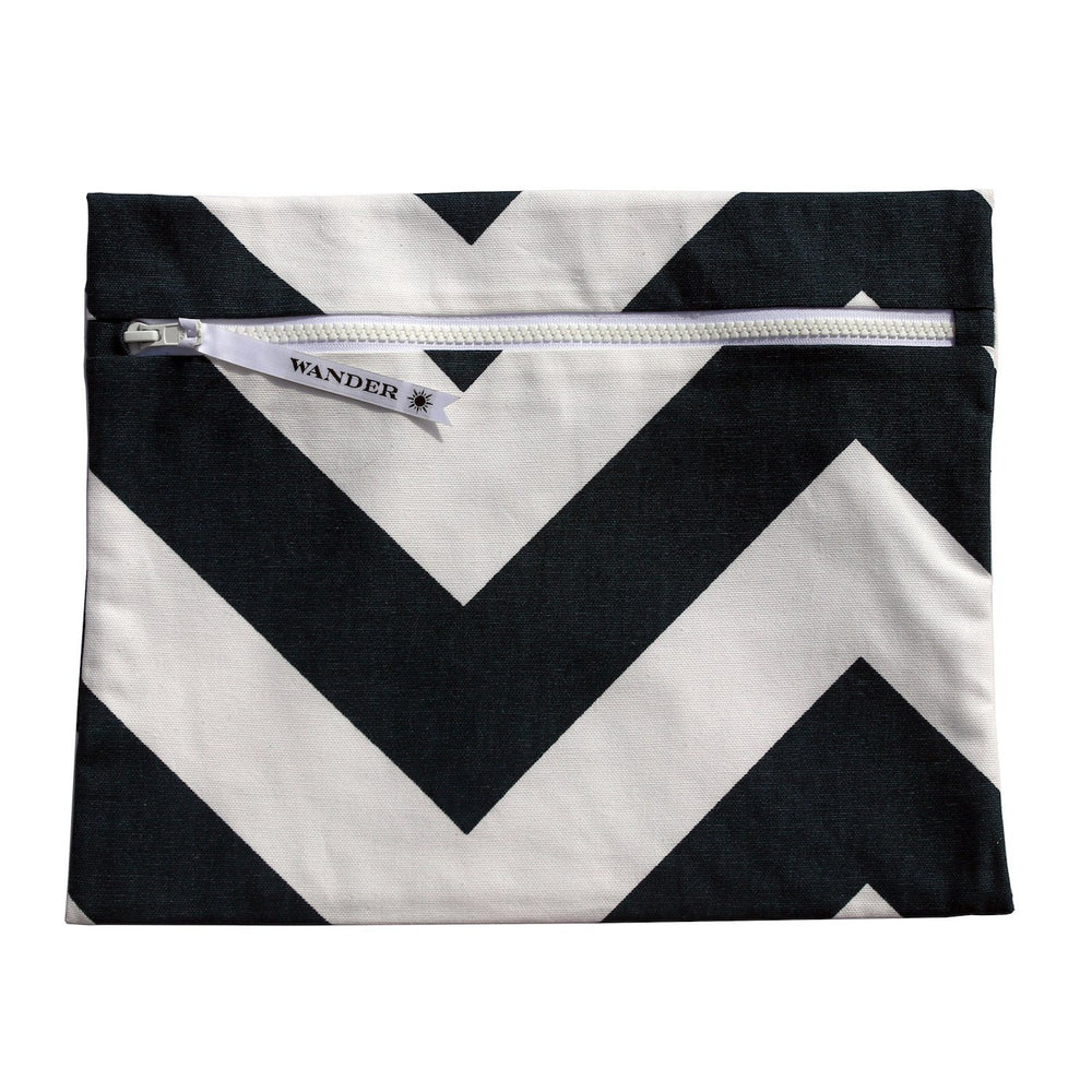 white and black chevron wet swimsuit bag or bikini bag - Siren in Noir by Wander Wet Bags™
