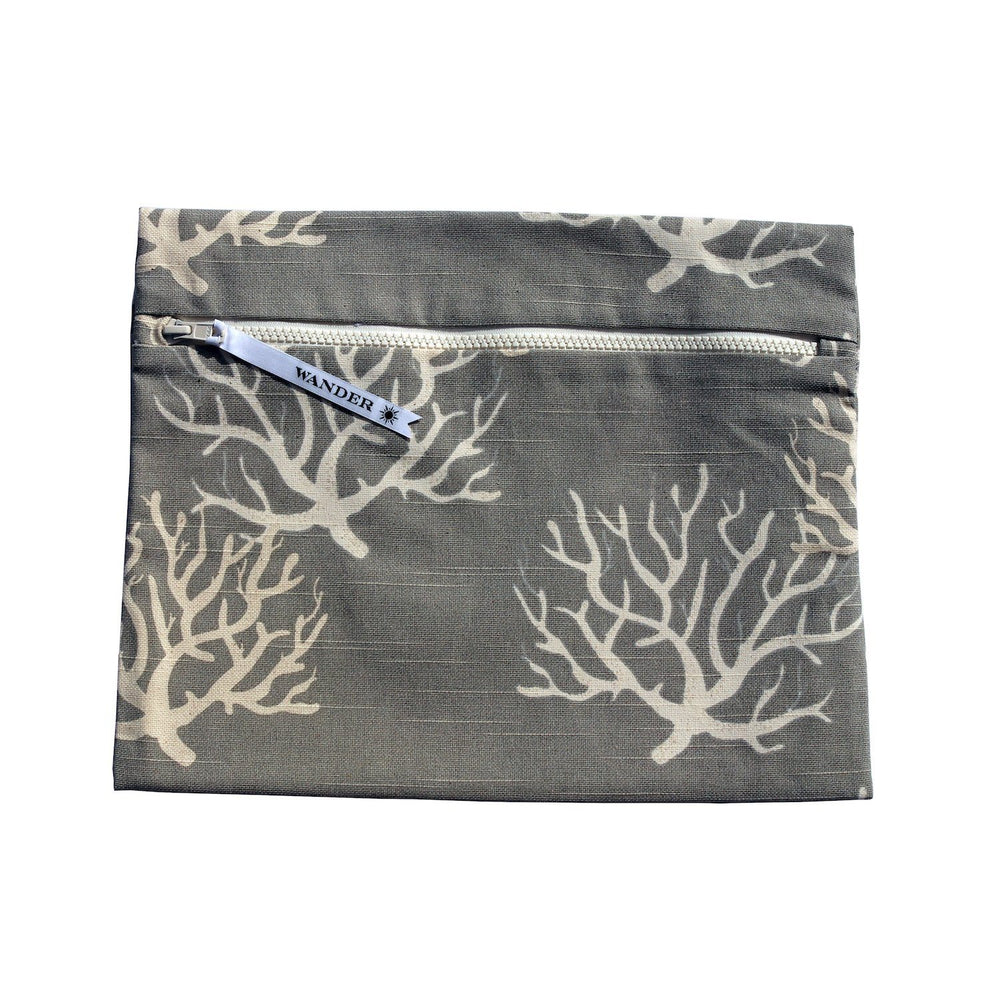 white and gray coral wet swimsuit bag or bikini bag - To the Sea in Whitsunday Sand by Wander Wet Bags™