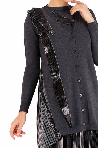 Black Ruffled Cardigan 20% off