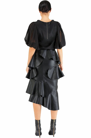 Black Ruffle Leather Skirt - 70% off