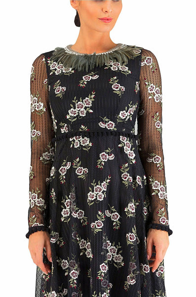 Feather Floral Black Dress 30% off