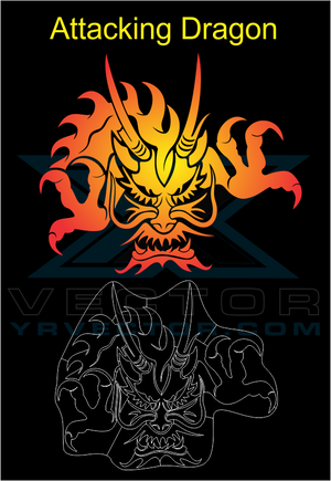 Vector File Download of a Attacking Dragon by YR VECTOR .COM - TaterSkinz