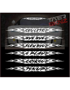 TATERSKINZ CUSTOM NAME FLAMED WINDSHIELD BANNER #OO65 - TaterSkinz