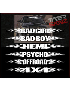 TATERSKINZ CUSTOM NAME FLAMED WINDSHIELD BANNER #OO64 - TaterSkinz