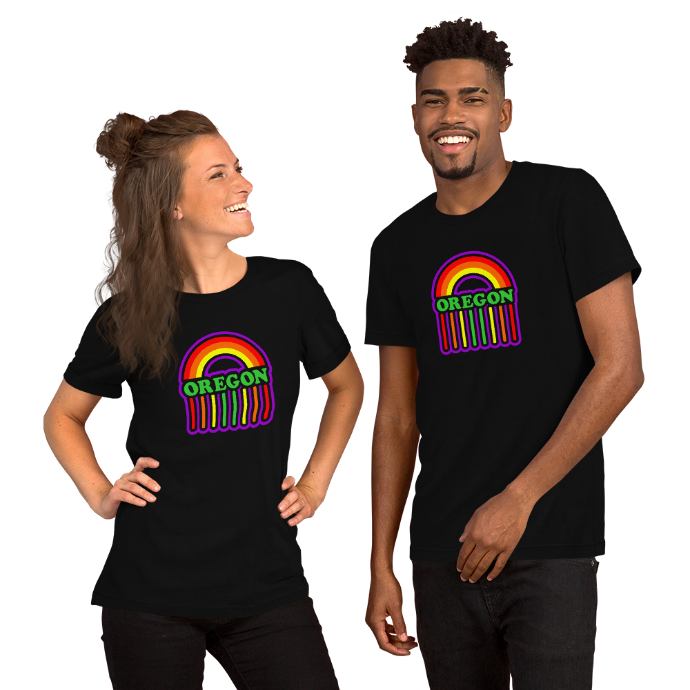 OREGON RAINBOW SHOWER Short-Sleeve Unisex T-Shirt Oregon Merch - TaterSkinz