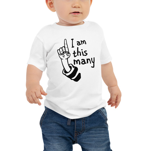 "1 yr old ""I am this Many"" Baby Jersey Short Sleeve Tee"