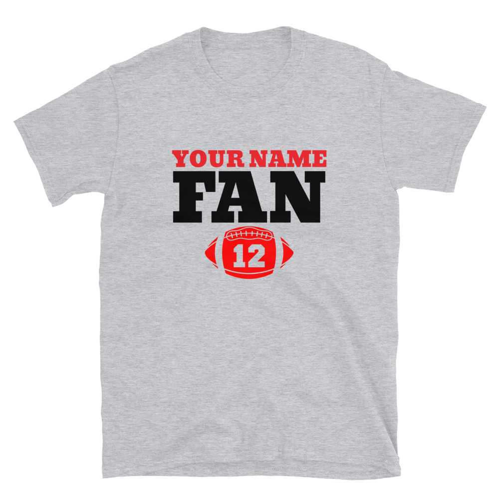 Custom Your Name Here FAN Football 12 Short-Sleeve Unisex T-Shirt Personalize this Tee - TaterSkinz