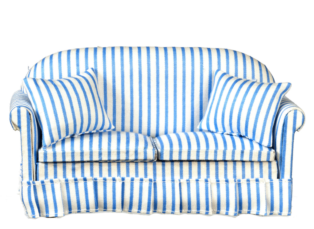 Blue and White Striped Sofa with Pillows