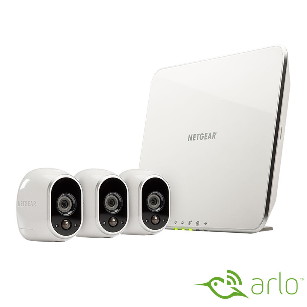Arlo Smart Home Indoor/Outdoor Wireless High-Definition IP Security Cameras (3-Pack) - White/Black (vms3330)