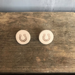 Leather Stamped Horseshoe Studs- 2 options