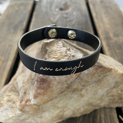 I am Enough Leather Bracelet