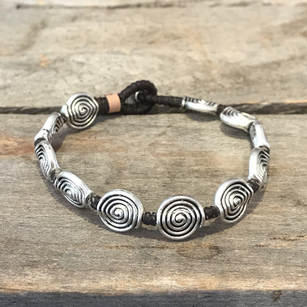 Fair Trade Brass Silver Swirl Bracelet