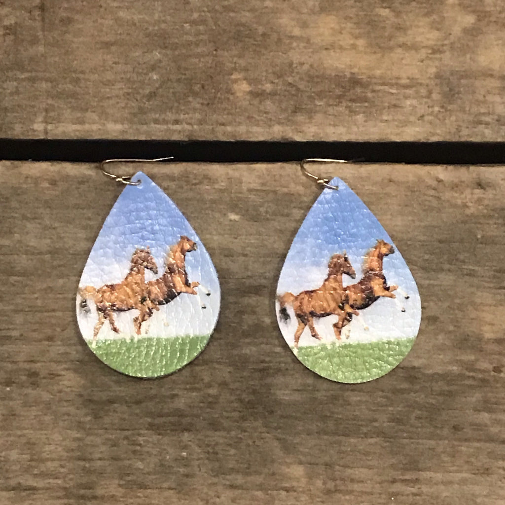 Leather Horse Earrings