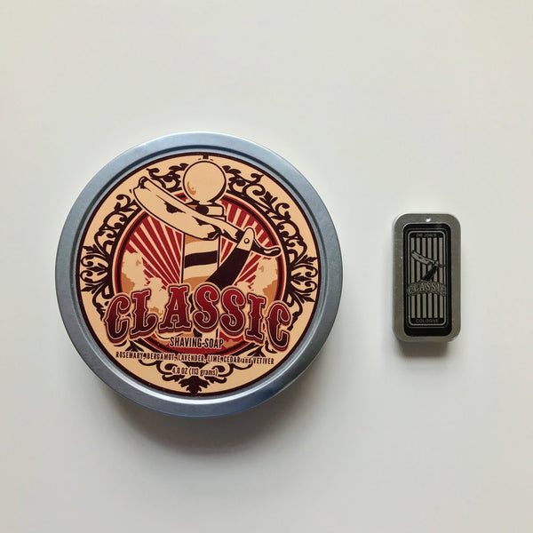 Tailor and Barber reviews our new Classic shaving soap and solid cologne.