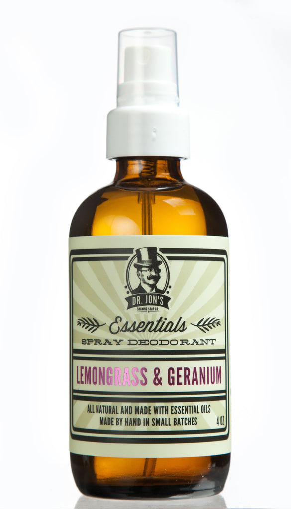Dr. Jon's Essentials Natural Vegan Deodorant Spray - Lemongrass and Geranium