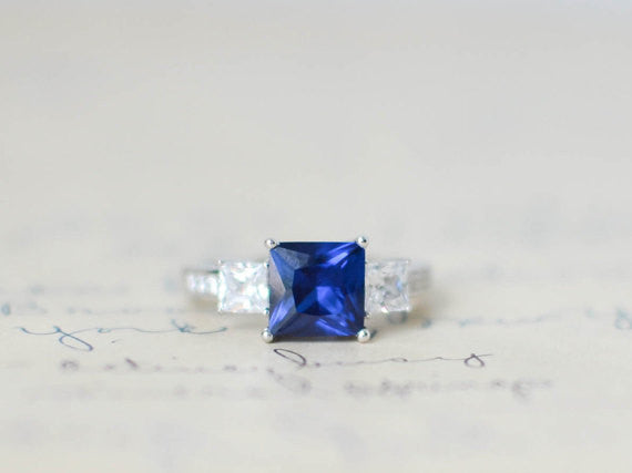 SALE - Blue Sapphire Engagement Ring - September Birthstone - 3 Stone Ring - Princess Cut - Wedding Ring - Promise Ring - Sterling Silver