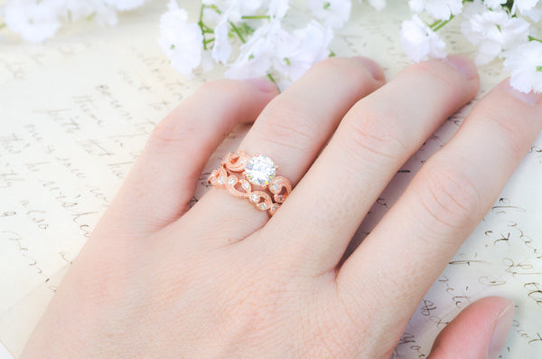 Leaf & Vine Engagement Ring - Floral Scroll Ring - Art Deco Ring - Wedding Ring Set - Rose Gold Ring - Milgrain Ring - Sterling Silver