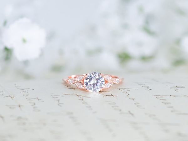 Rose Gold Engagement Ring - Art Deco Ring - Vintage Wedding Ring - Flower Ring  - Solitaire Ring - Round Cut Ring - Unique Ring
