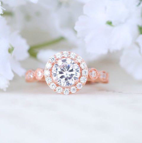 Rose Gold Engagement Ring - Art Deco Wedding Ring - Round Halo Ring - Vintage Style Ring - Promise Ring - Sterling Silver - 1 Carat