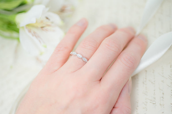 Art Deco Wedding Band - Half Eternity Band - Vintage Style Band - Sterling Silver Band - Marquise Band - Stacking Ring - Milgrain Band