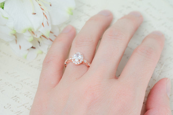 Rose Gold Engagement Ring - Art Deco Wedding Ring - Oval Halo Ring - Vintage Style Ring - Promise Ring - Sterling Silver - 1 Carat