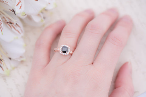 Rose Gold Black Engagement Ring - Cushion Cut Halo Ring - Art Deco Ring - Promise Ring - Vintage Ring - Wedding Ring - Sterling Silver