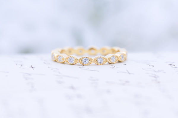 Yellow Gold Wedding Band - Art Deco Ring - Full Eternity Ring -  Stacking Ring - Marquise Ring - Dainty Band - Thin Ring - Sterling Silver
