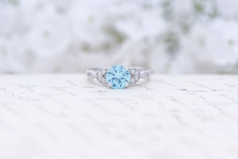Art Deco Engagement Ring - Vintage Inspired Ring - Antique Style - Blue Topaz -  Round Cut Solitaire Ring - 1.2 Carat - Sterling Silver