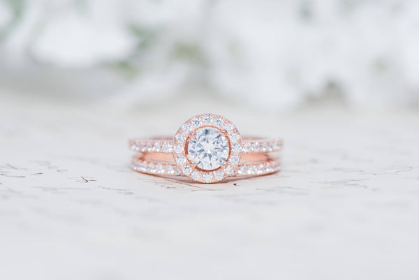 Rose Gold Round Halo Ring - Sterling Sliver Ring - Engagement Ring Set - Round Cut Ring - Halo Engagement Ring - Wedding Ring