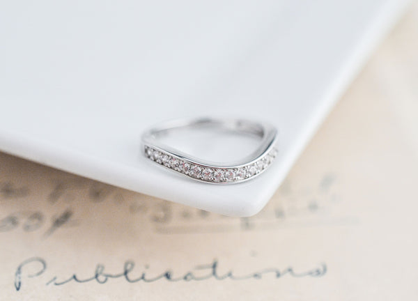 Curved Wedding Band - Contour Band - Sterling Silver Ring - Half Eternity Ring - Stacking Ring - Ring Gaurd