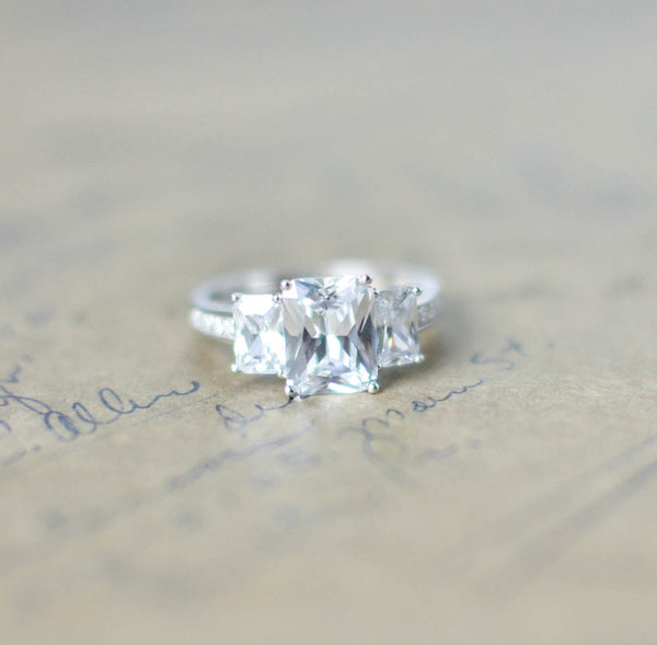 SALE - Cubic Zirconia Engagement Ring - CZ Wedding Ring - 3 Stone Ring - Emerald Cut - Promise Ring - CZ Ring - Sterling Silver