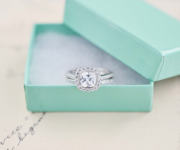 Wedding Ring Set - Cushion Cut Ring - Sterling Silver Ring - Engagement Ring - Cubic Zirconia Ring - Halo Engagement Ring - 1 Carat