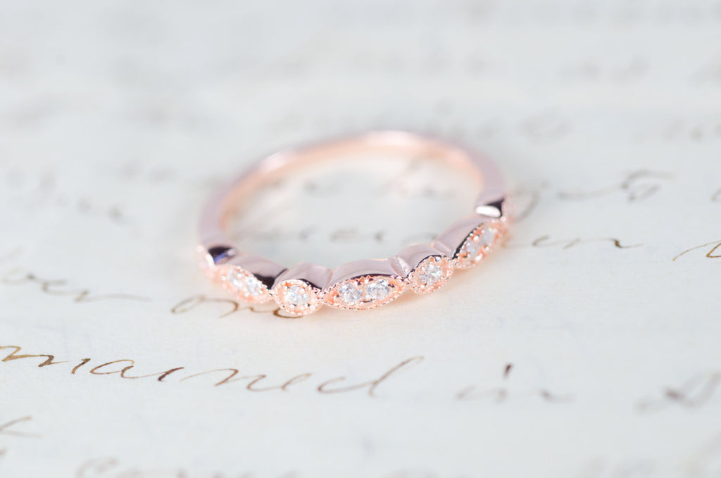 89e3f125c02e8 Rose Gold Wedding Band - Art Deco Ring - Stacking Ring - Eternity Ring -  Wedding Ring - Promise Ring - Vintage Ring - Sterling Silver