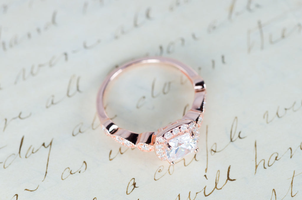 Rose Gold Engagement Ring Cushion Cut Halo Ring Art Deco Ring