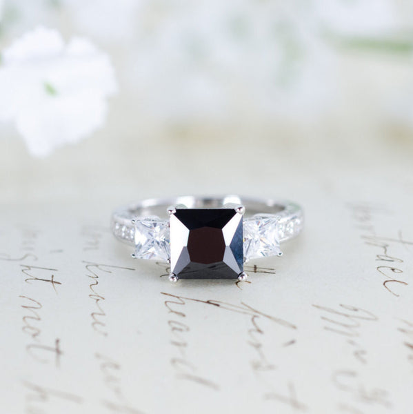 SALE - Black Engagement Ring - Three Stone Ring - Princess Cut Ring - Gothic Ring - Wedding Ring - Sterling Silver
