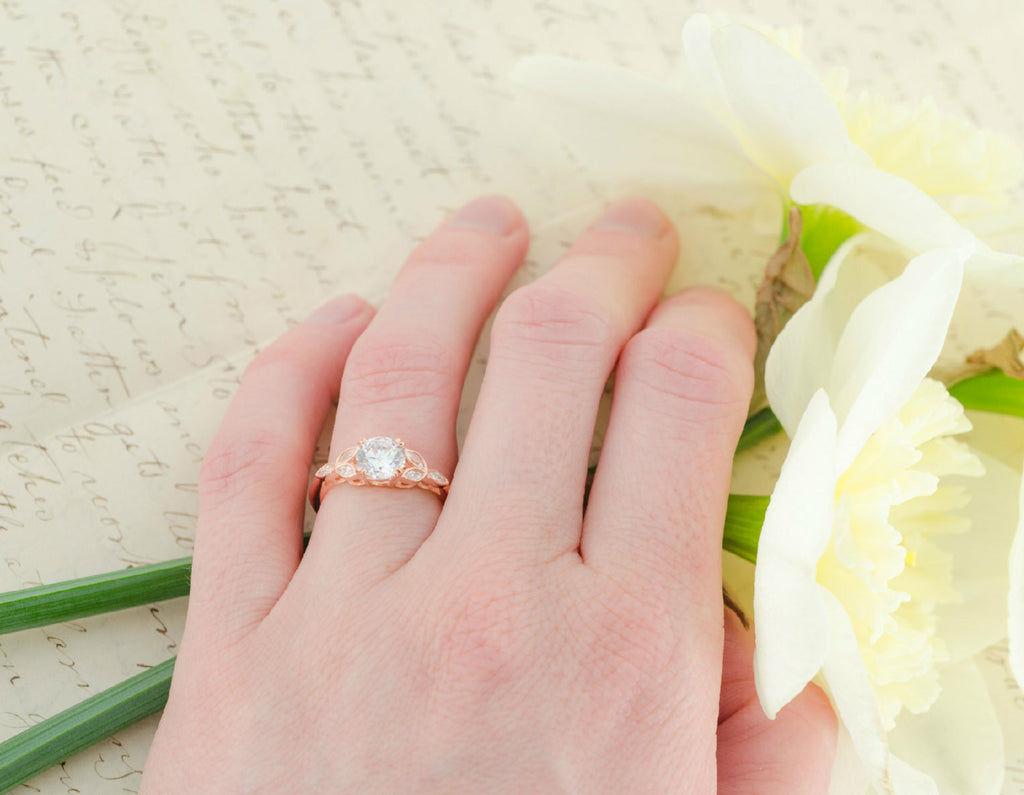 Rose Gold Engagement Ring - Art Deco Ring - Vintage Wedding Ring ...