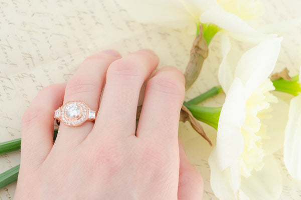 Rose Gold Wedding Ring - Sterling Silver Ring - Vintage Engagement Ring - Cubic Zirconia Ring - Halo Ring - Art Deco Ring - Big Ring