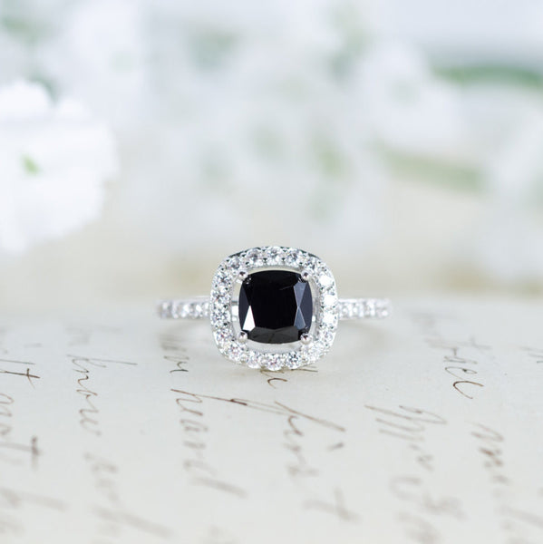 SALE - Black Halo Ring - Cushion Cut Ring - Engagement Ring - Promise Ring - Wedding Ring - Sterling Silver - 1 Carat