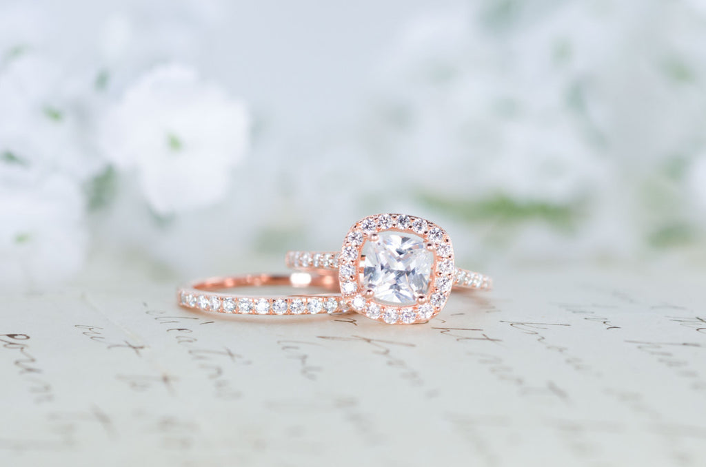 Halo Wedding Ring Set Cushion Cut Ring Engagement Ring Rose Gold Ring Sterling Silver Ring