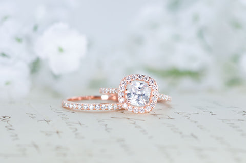 Halo Wedding Ring Set - Cushion Cut Ring - Engagement Ring - Rose Gold Ring - Sterling Silver Ring