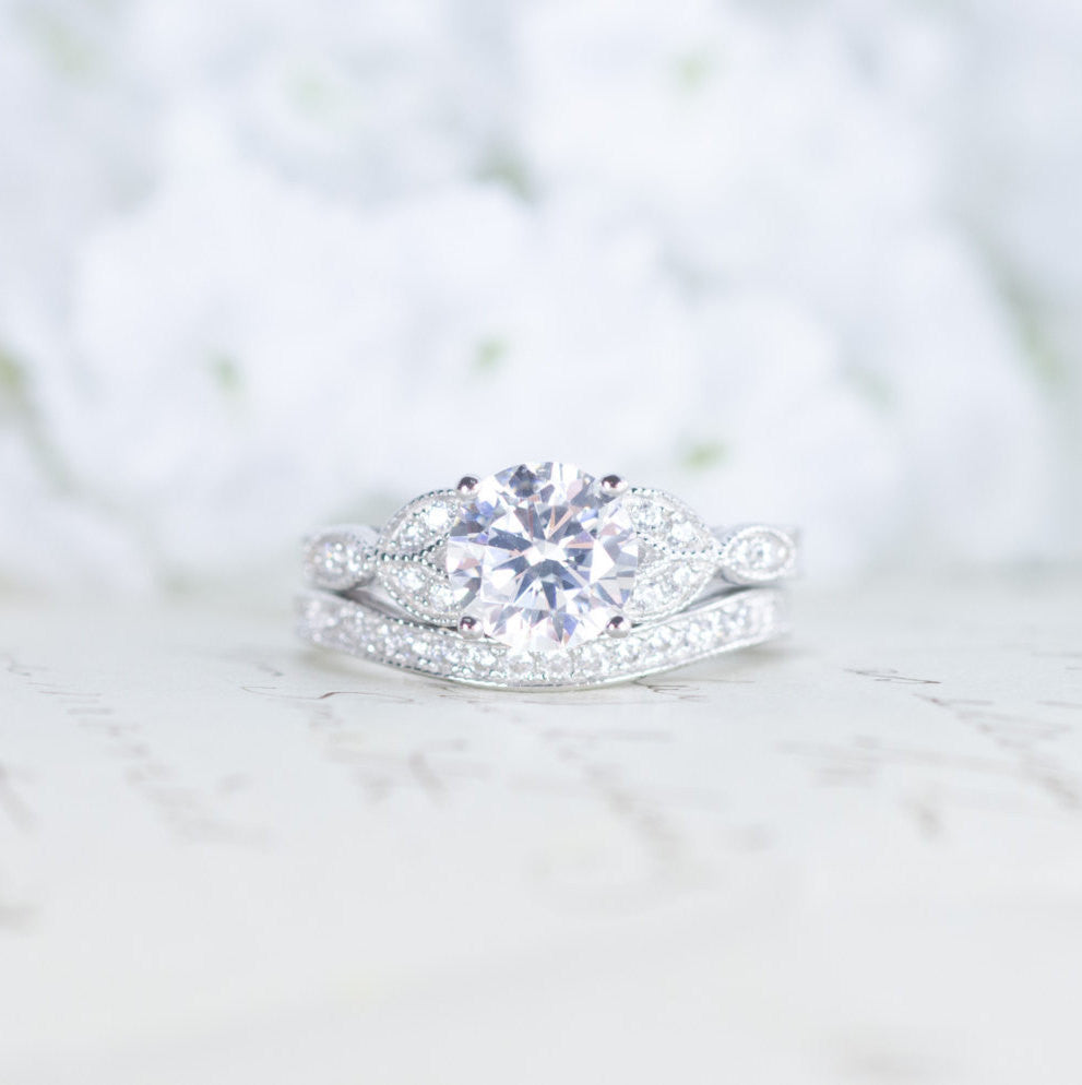 Art deco engagement ring vintage inspired ring antique style art deco engagement ring vintage inspired ring antique style wedding ring set junglespirit Image collections