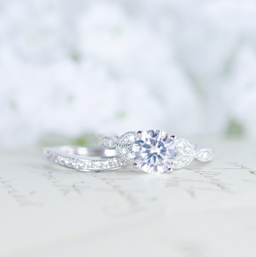 Art Deco Engagement Ring Vintage Inspired Ring Antique Style