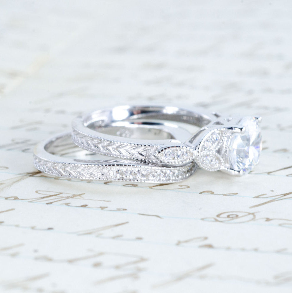 ... Art Deco Engagement Ring   Vintage Inspired Ring   Antique Style   Wedding  Ring Set ...